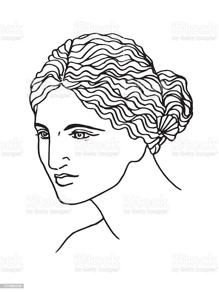 the ancient Greek goddess of love, vector art illustration