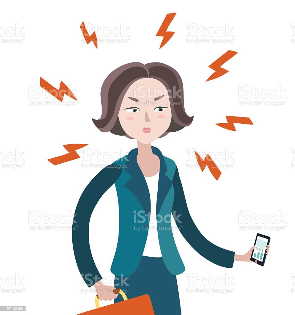 The Angry Woman vector art illustration