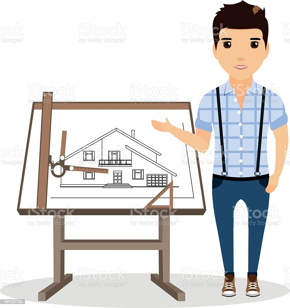 The architect specifies the drawing hand. Architect drawing table near. vector art illustration