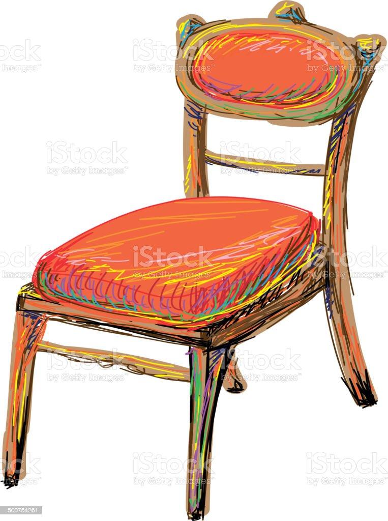 The art chair. Sketch vector art illustration