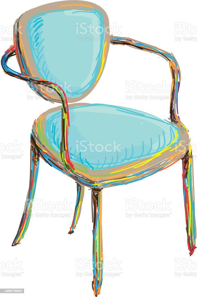 The art chair vector art illustration