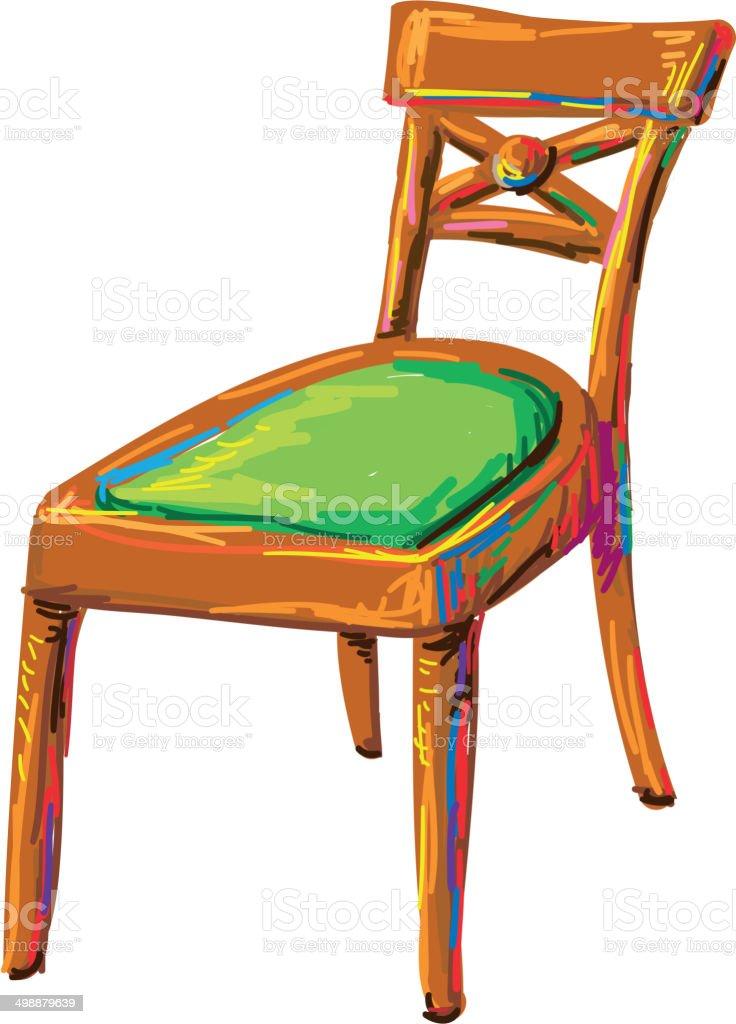 The art retro chair vector art illustration