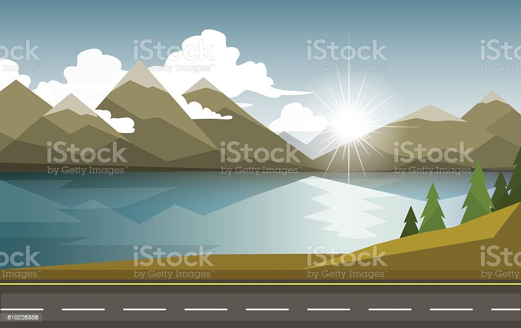 The autumn landscape of forests, mountains, road and lake. vector art illustration