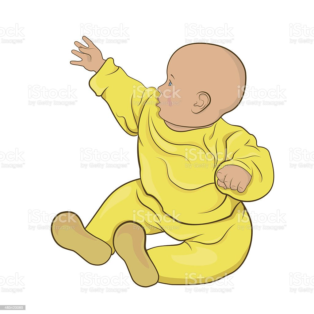 The baby  in yellow pajamas sitting vector art illustration