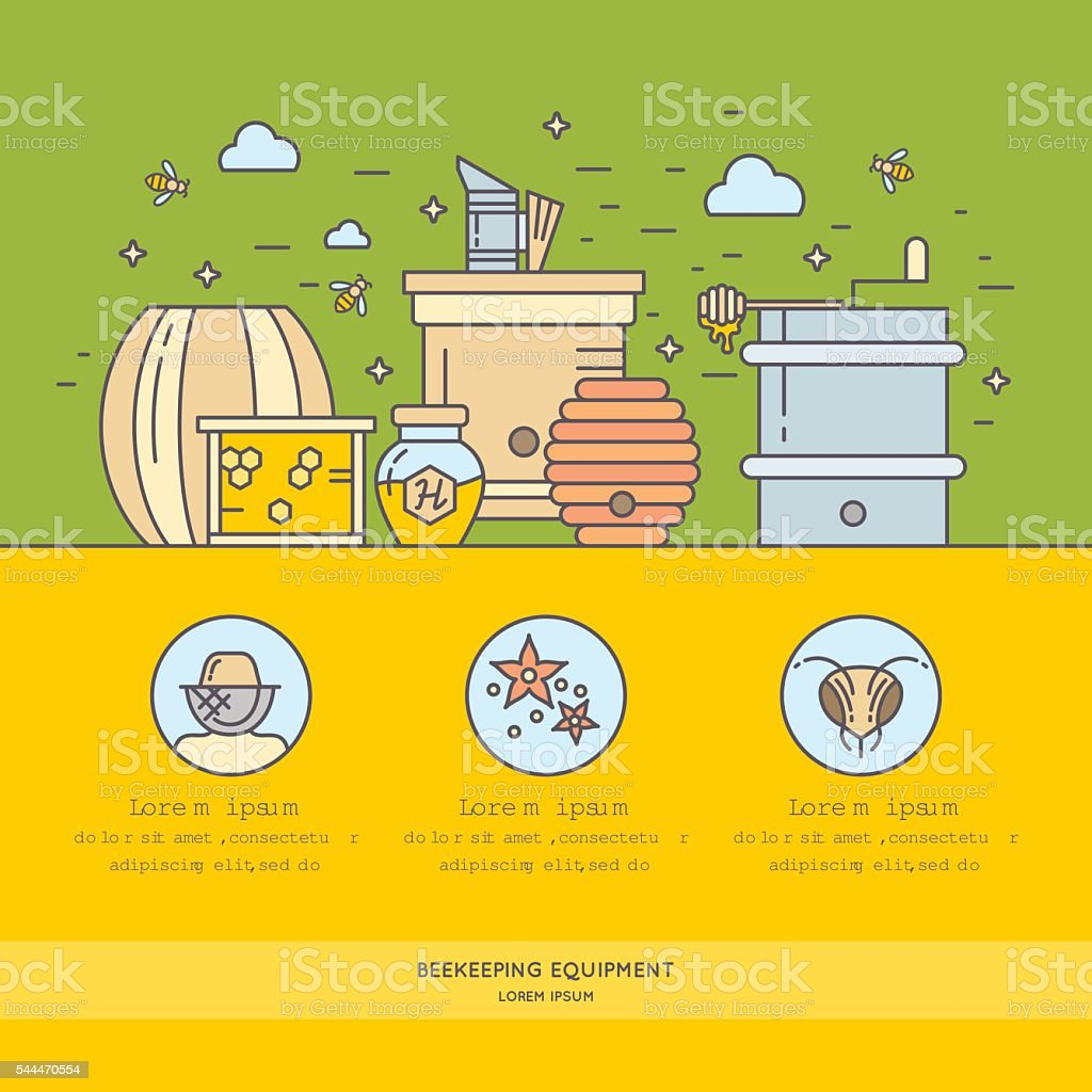 The background for the sale of honey. vector art illustration