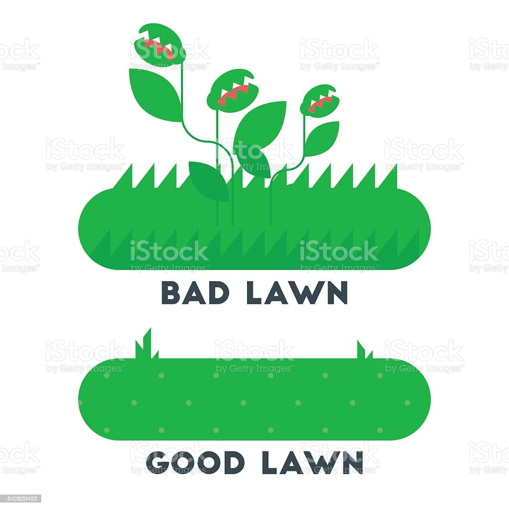 The bad and good green grass lawn concept. vector art illustration