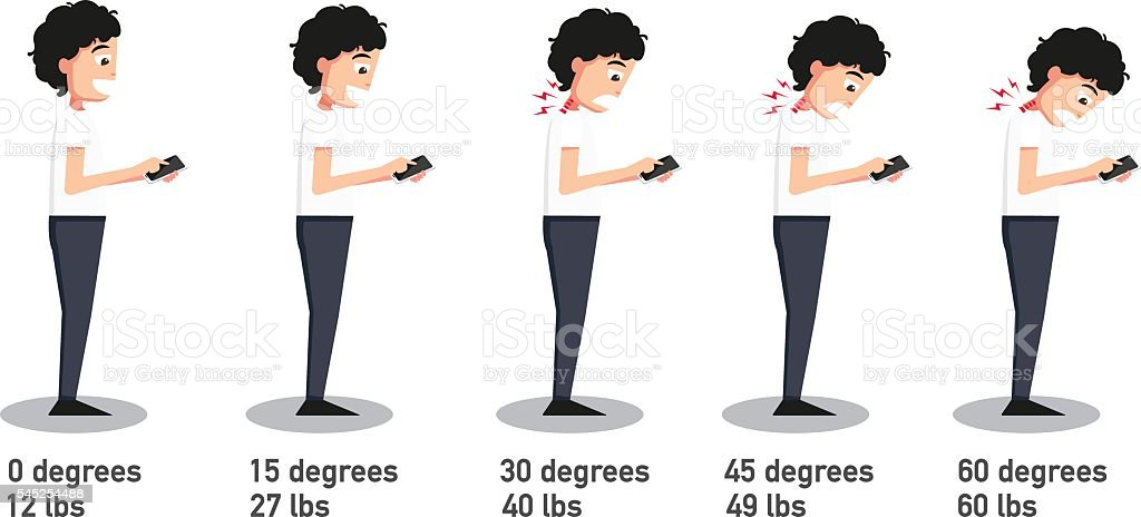 The bad smartphone postures vector art illustration