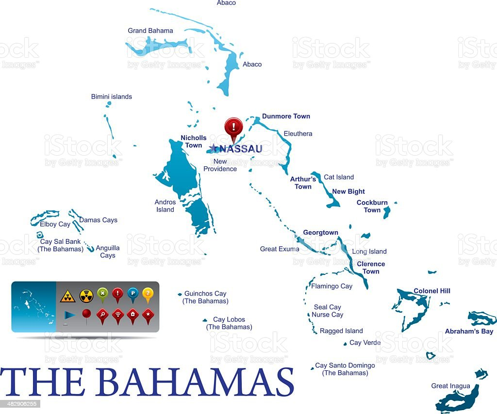 The Bahamas map with navigation icons vector art illustration