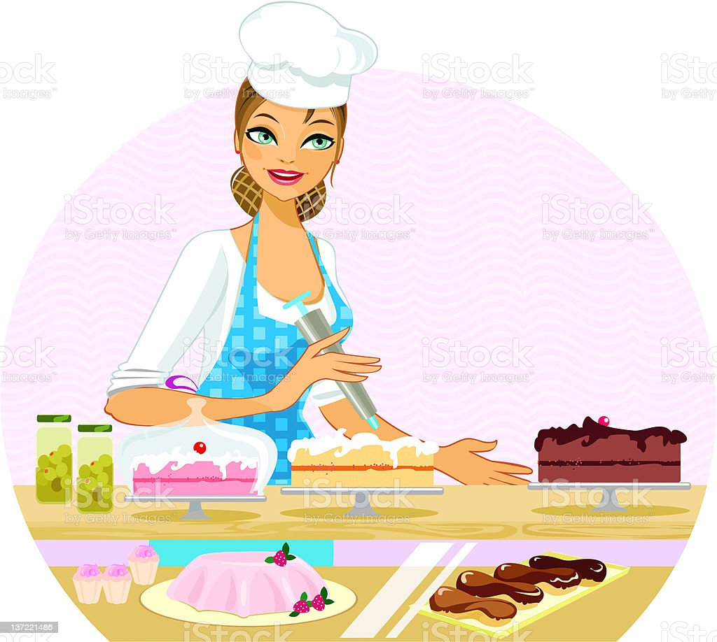 The Bakery Lady royalty-free stock vector art