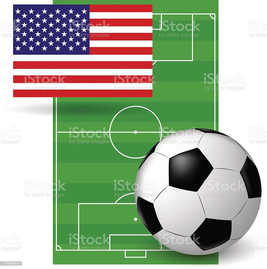 The ball on the American flag vector art illustration
