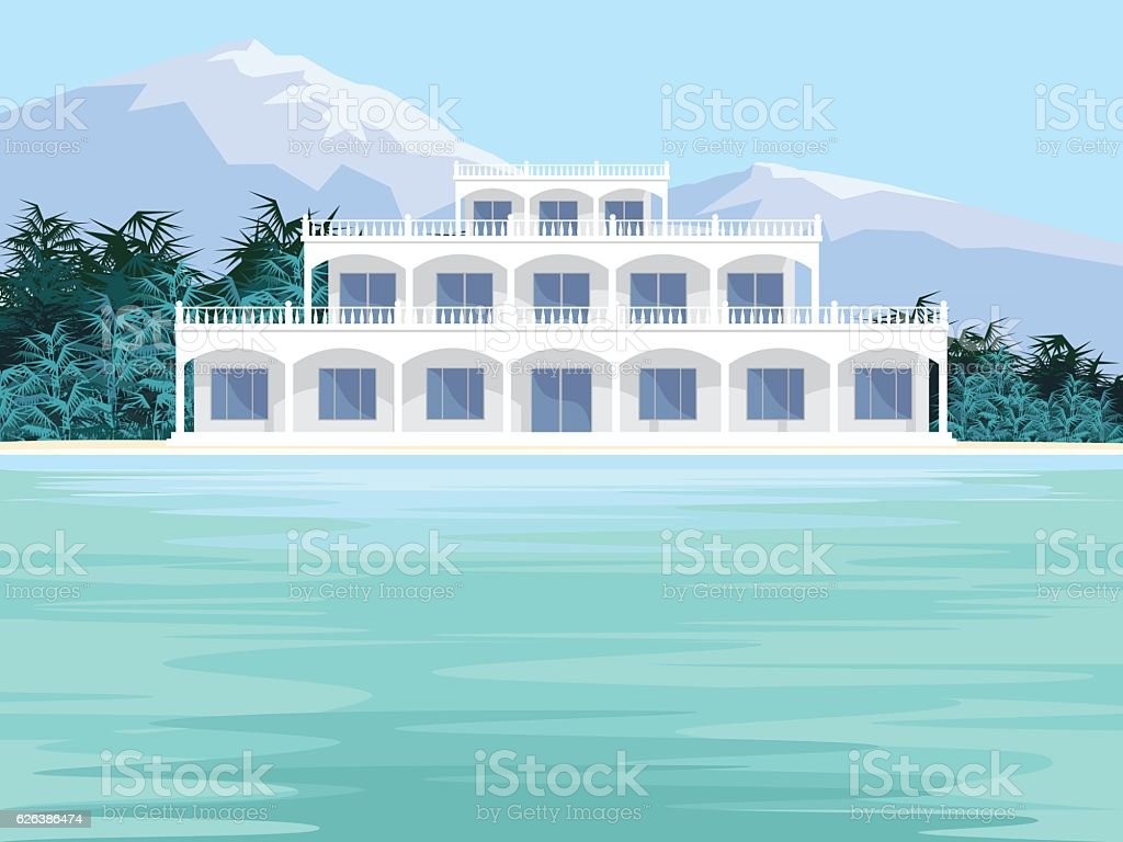 the beachfront Villa vector art illustration
