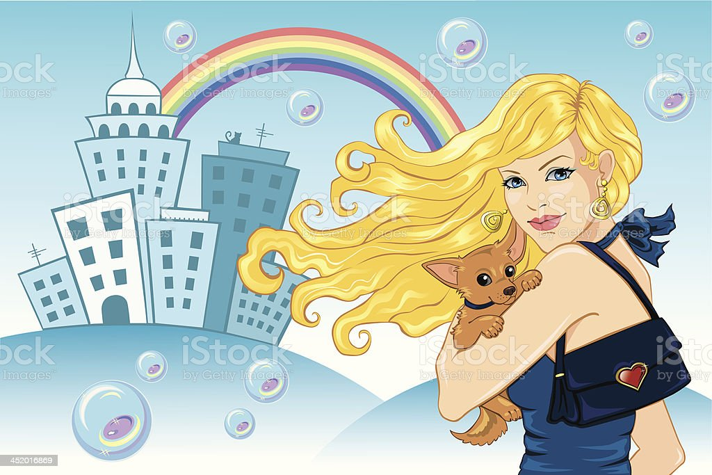 The beautiful blonde girl with little dog royalty-free stock vector art