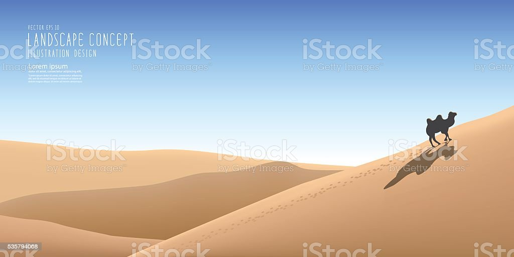 The beautiful landscape in the vast desert and a camel. vector art illustration