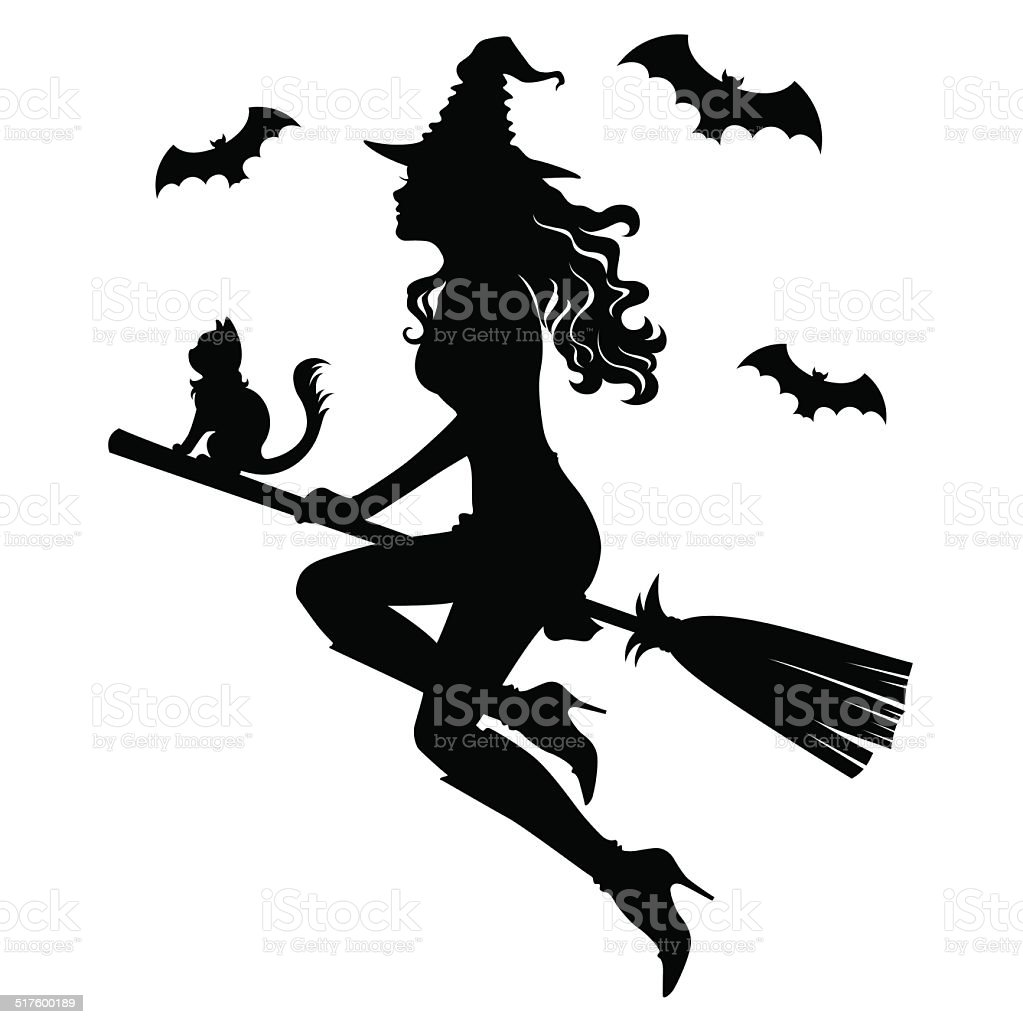 The beautiful silhouette of a witch on a broom vector art illustration