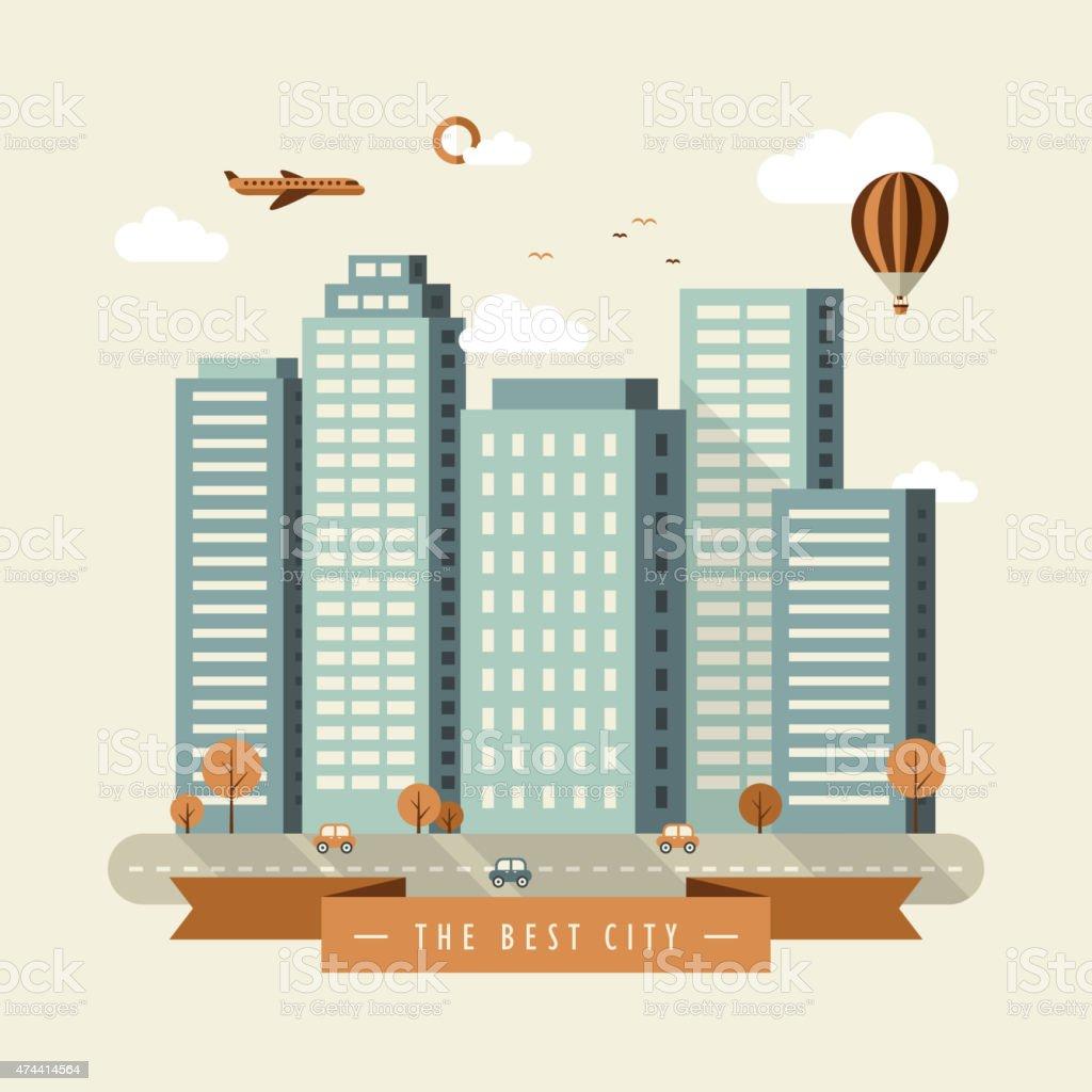 the best city illustration design vector art illustration