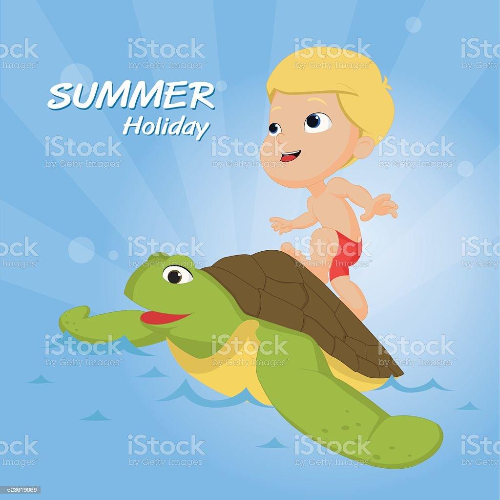 """Le meilleur de l """" été enfants des activités en plein air sur la plage. stock vecteur libres de droits libre de droits"""