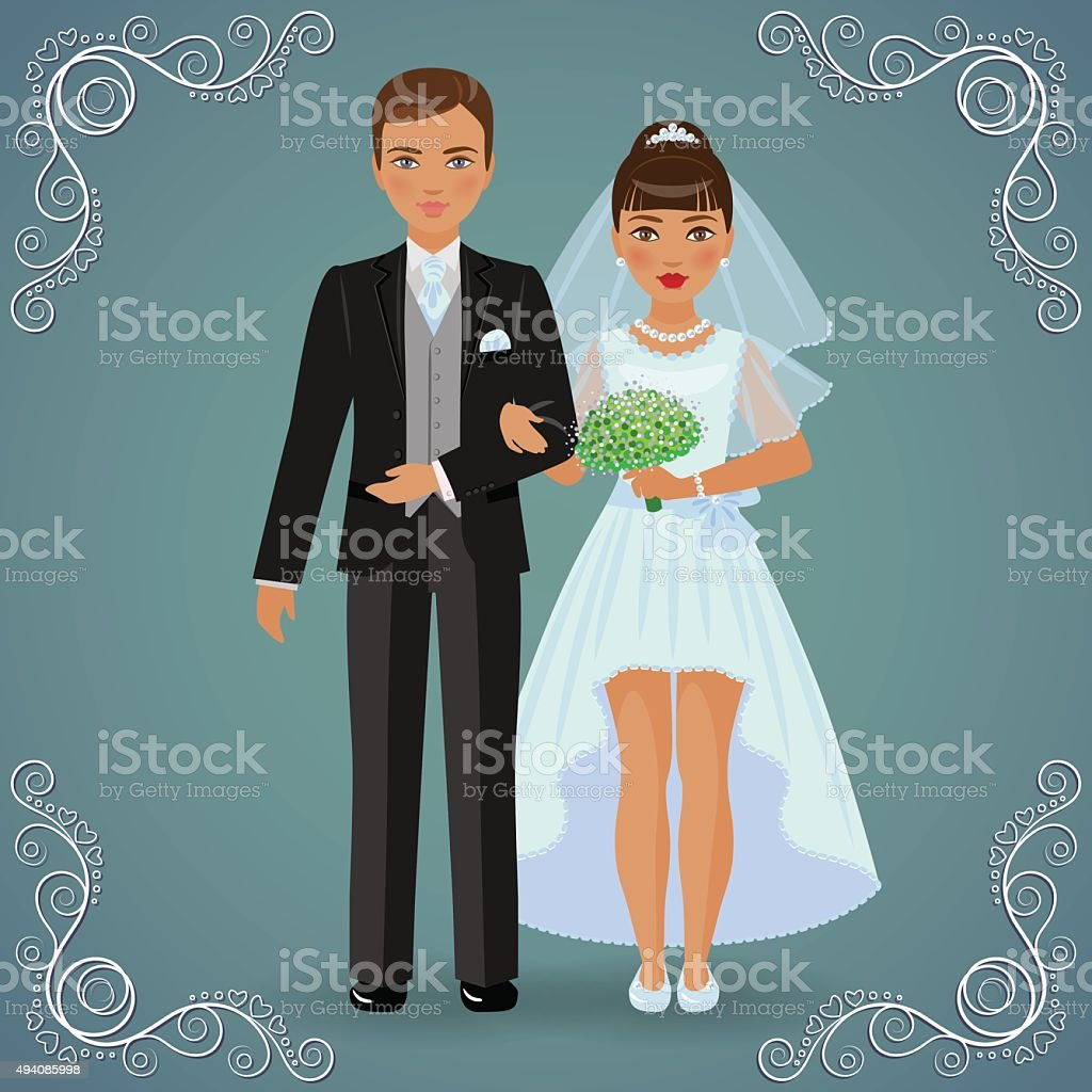 The betrothed pair vector art illustration