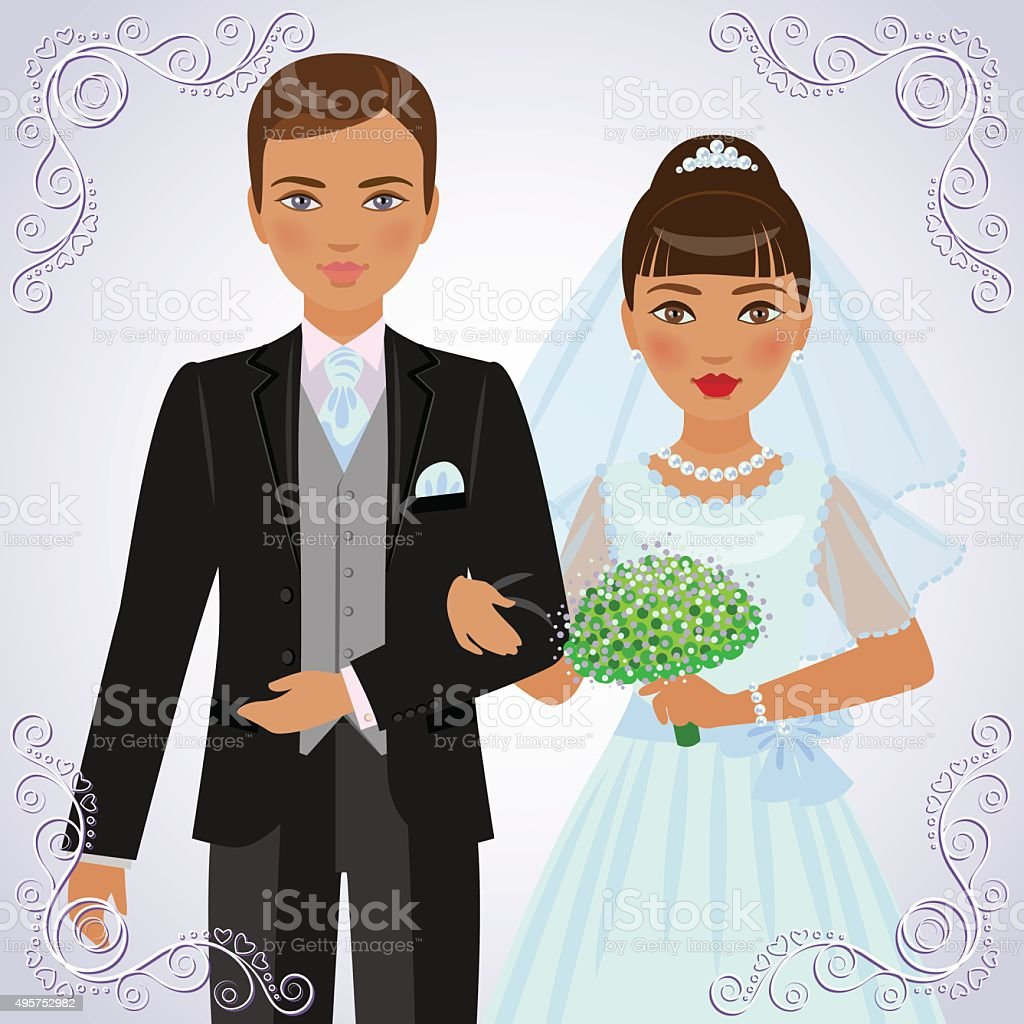 The betrothed pair. vector art illustration