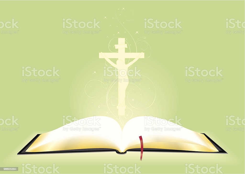 The bible and cross royalty-free stock vector art
