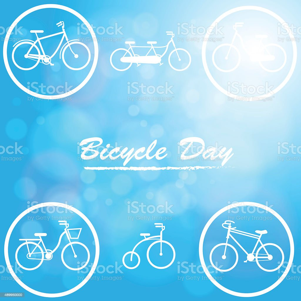The Bicycle day in natural blue background stock photo