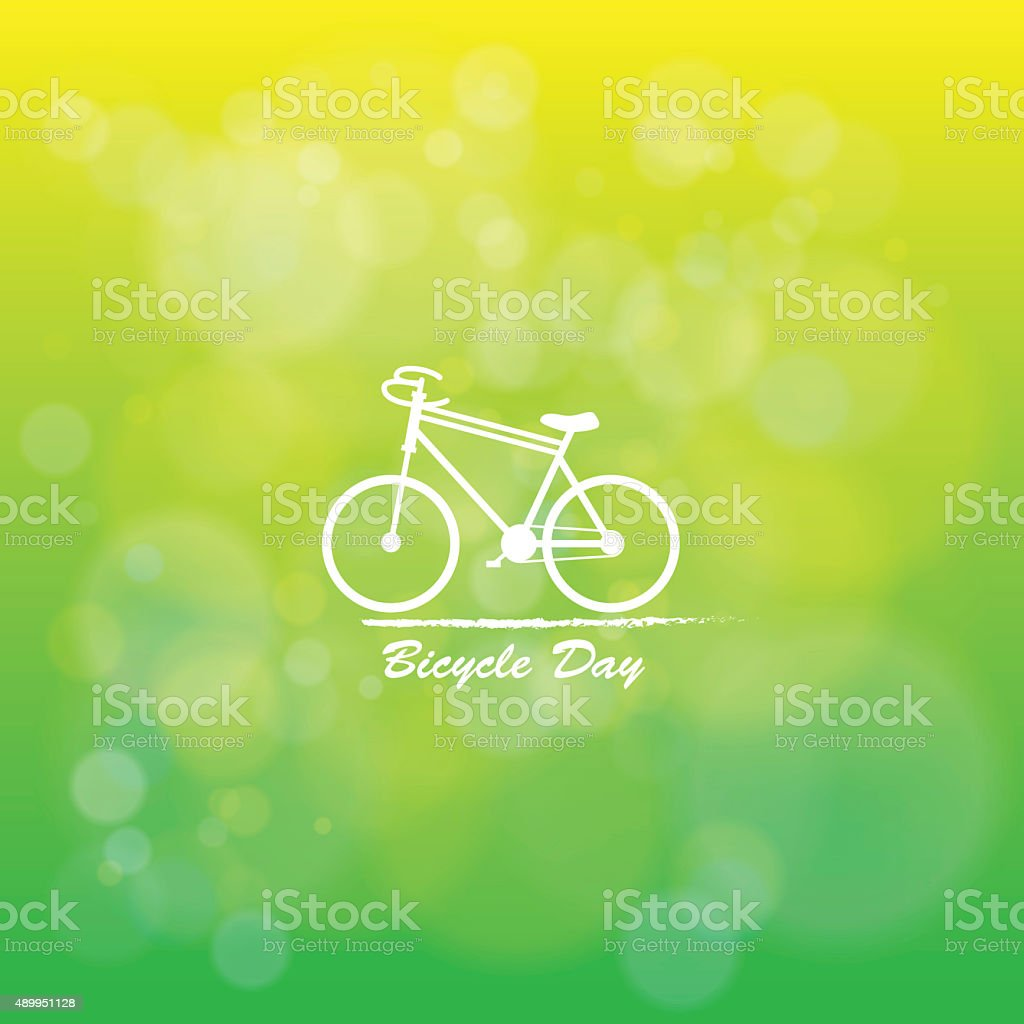 The Bicycle day in natural green background stock photo