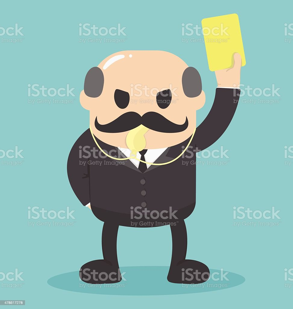 the big boss raised yellow card . Notifications personnel vector art illustration
