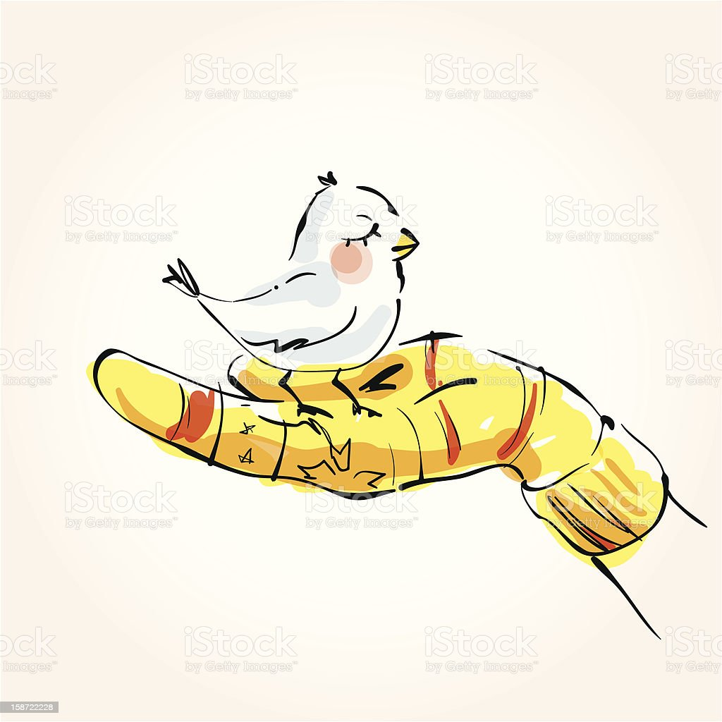 The bird in a hand royalty-free stock photo