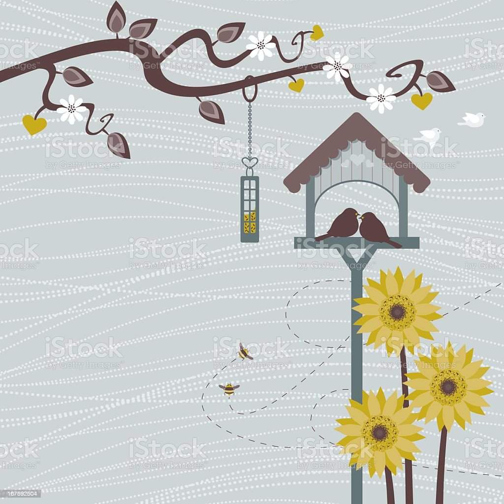 The Bird Table vector art illustration