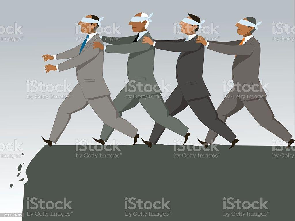The blind leading the blind vector art illustration