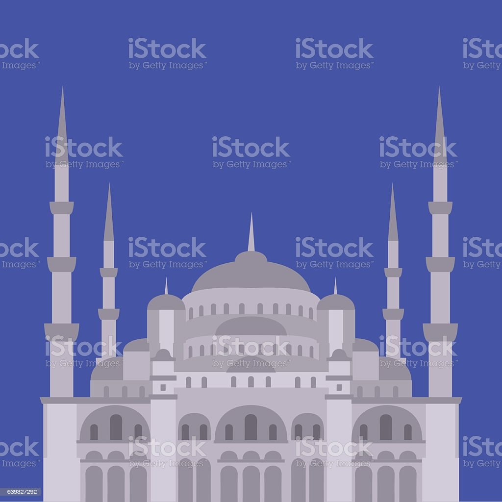 The Blue Mosque, Sultanahmet Camii, Istanbul, vector art illustration