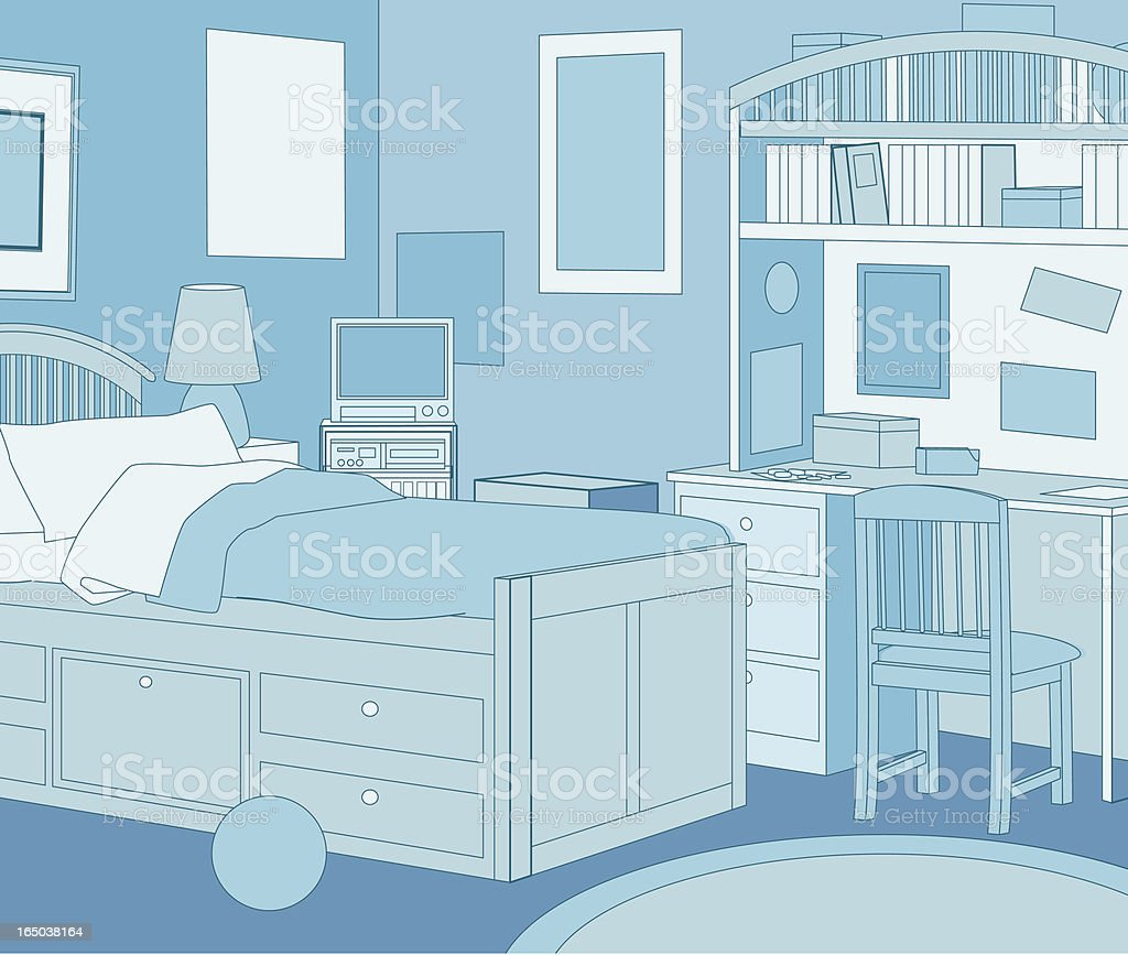 The Blue Room vector art illustration