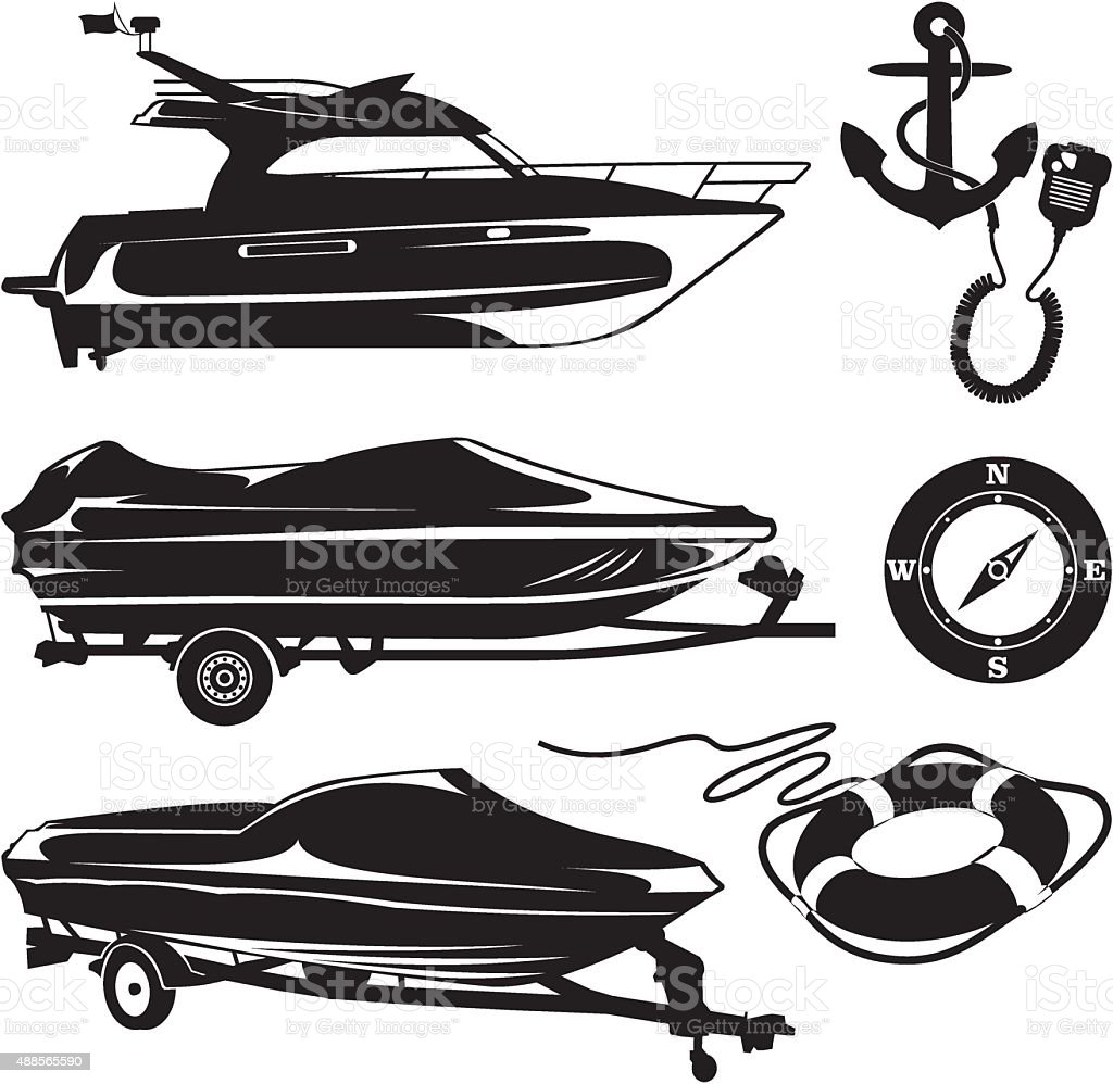 The boat trailer and boats with marine accessories vector art illustration