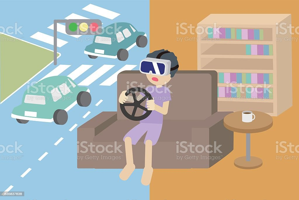 The boy enjoying playing car games with VR glasses vector art illustration