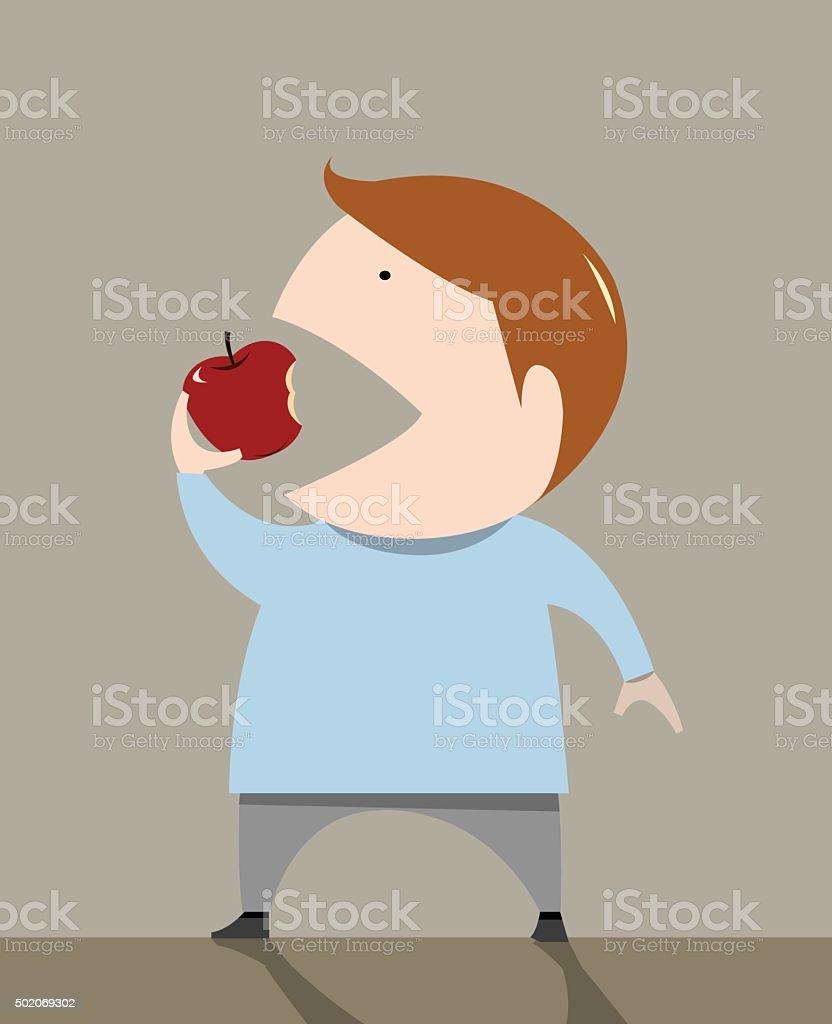 The boy is eating apple vector illustration vector art illustration