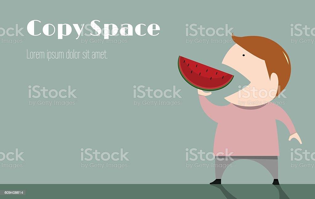The boy is eating watermelon cute vector illustration vector art illustration