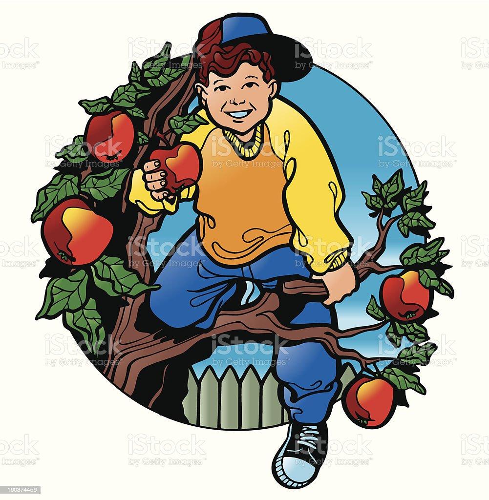 The boy on an apple-tree royalty-free stock vector art