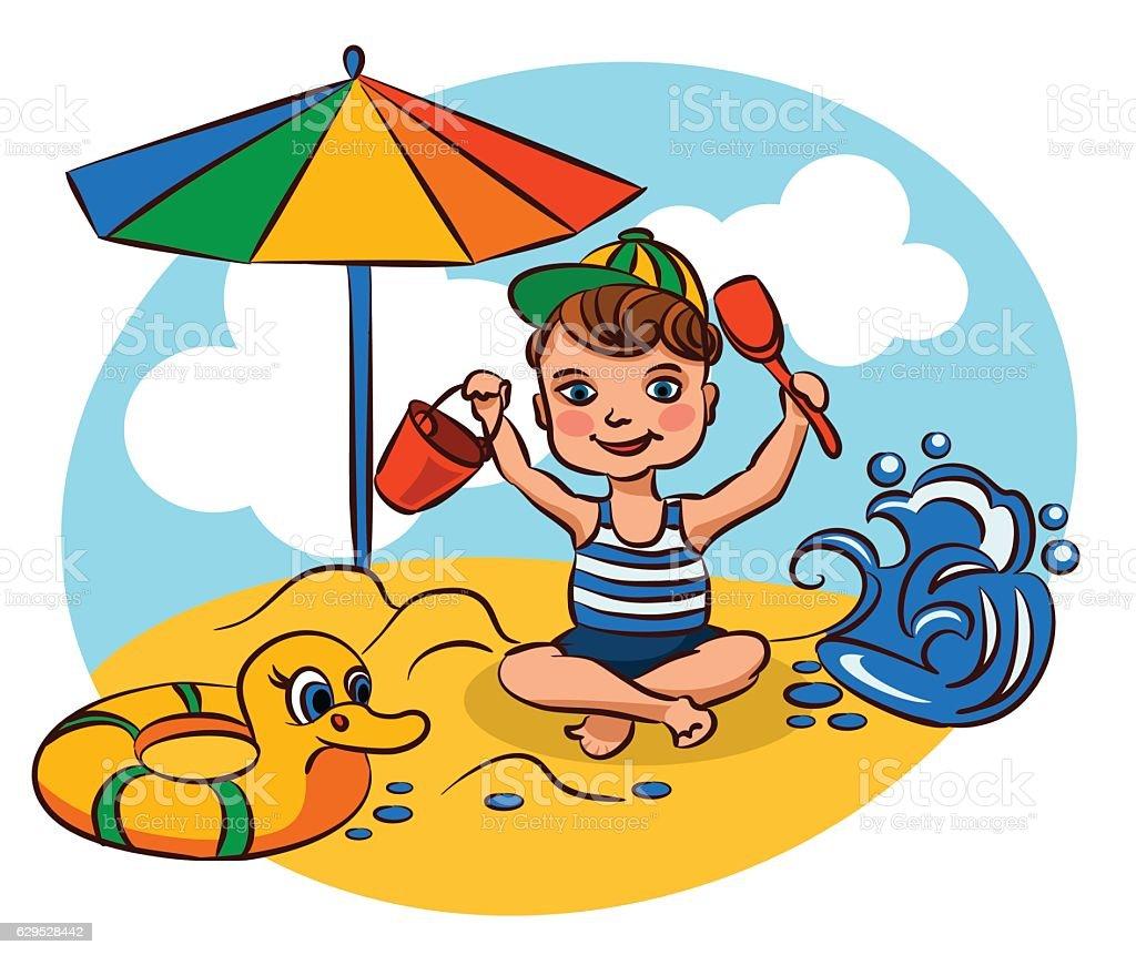 The boy on the beach vector art illustration