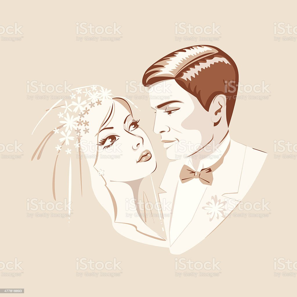 The bride and groom royalty-free stock vector art