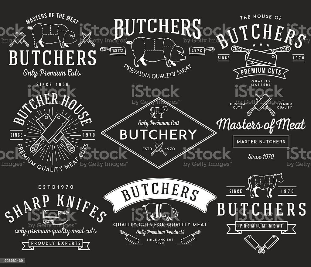 The butcher bundle 2 white on black vector art illustration
