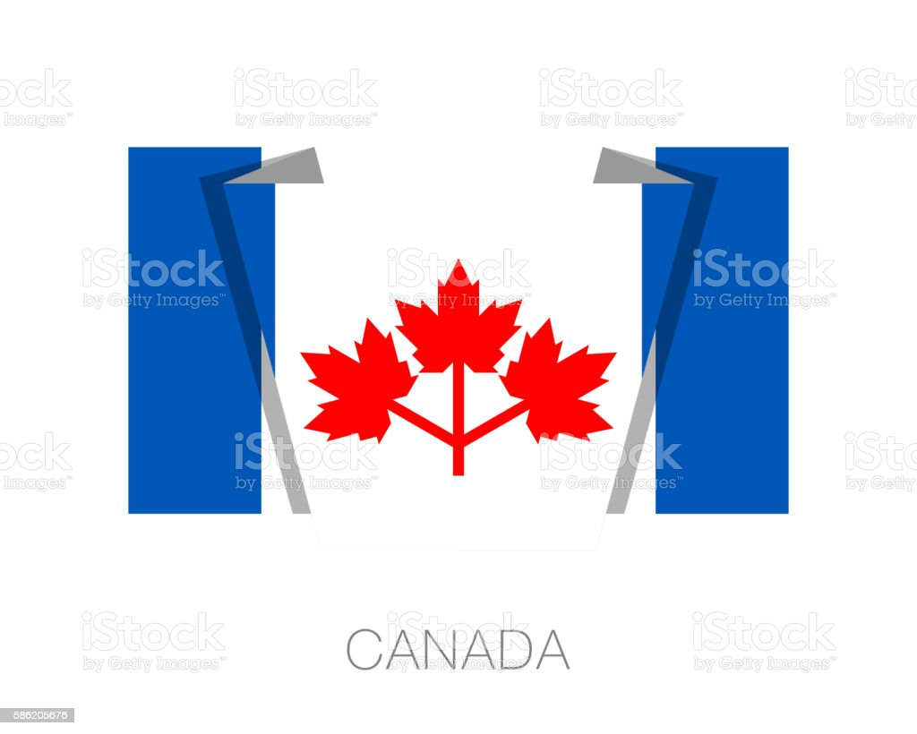 The Canadian Pearson Pennant. Flat Icon Wavering Flag with Count vector art illustration