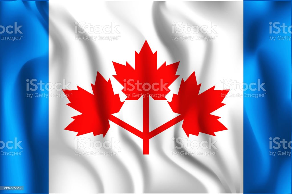 The Canadian Pearson Pennant. Rectangular Shape Icon with Wavy E vector art illustration