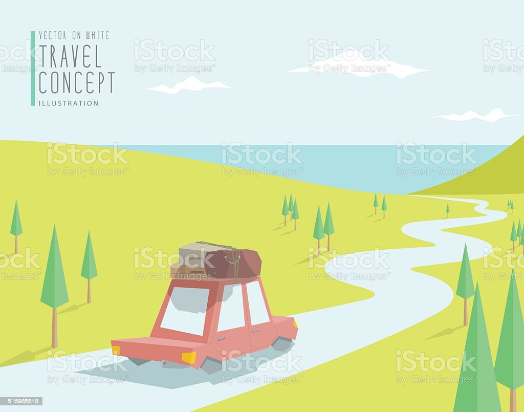 The car go to travel at sea beautiful scenery. vector art illustration