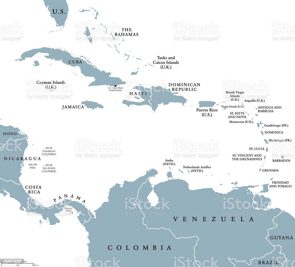 The Caribbean countries political map vector art illustration