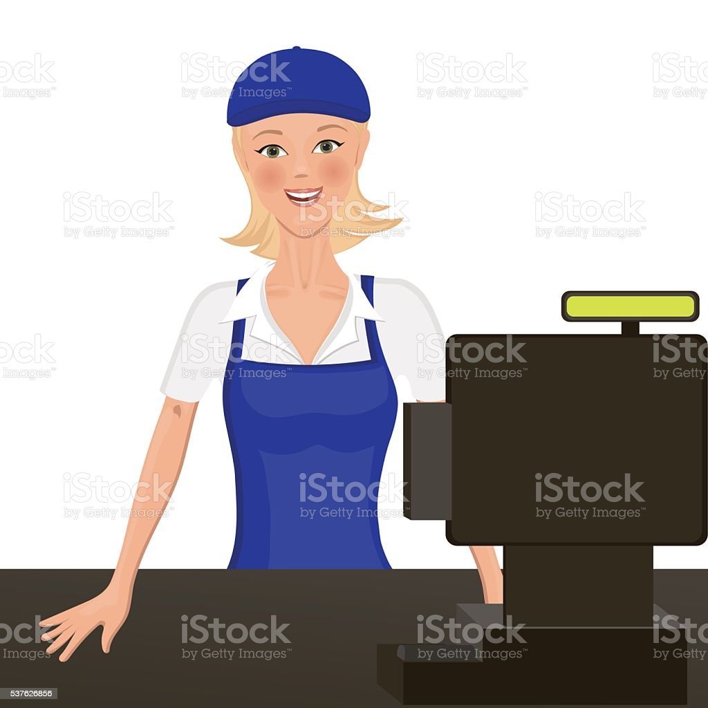 The cashier behind the counter. Isolated object. headpiece and apron vector art illustration