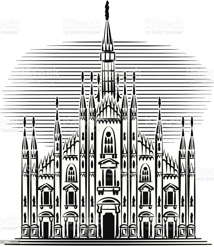 the cathedral of Milan royalty-free stock vector art
