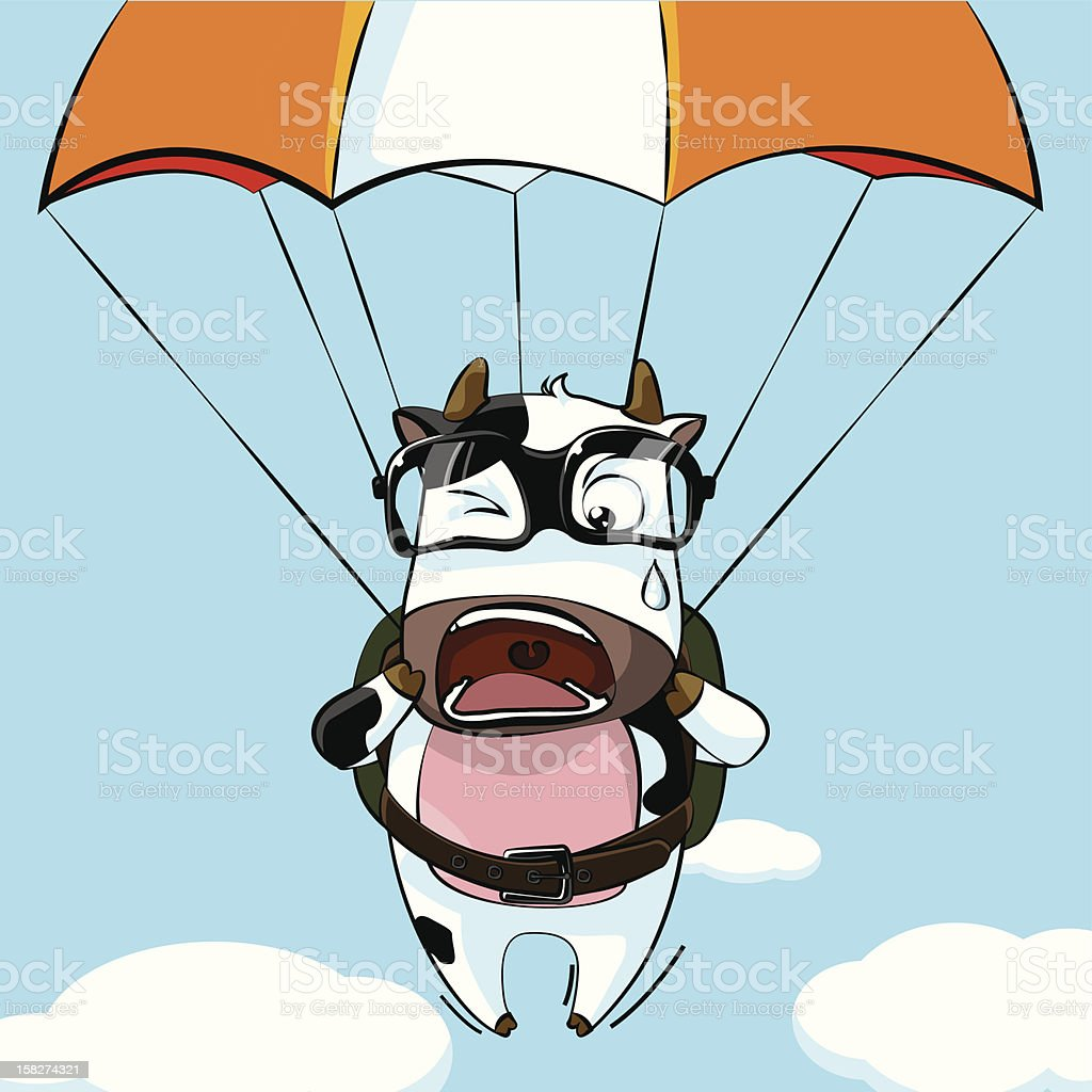 The cattle parachuting royalty-free stock vector art