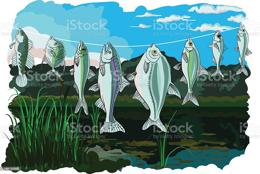 The caught fish hangs on the line vector art illustration