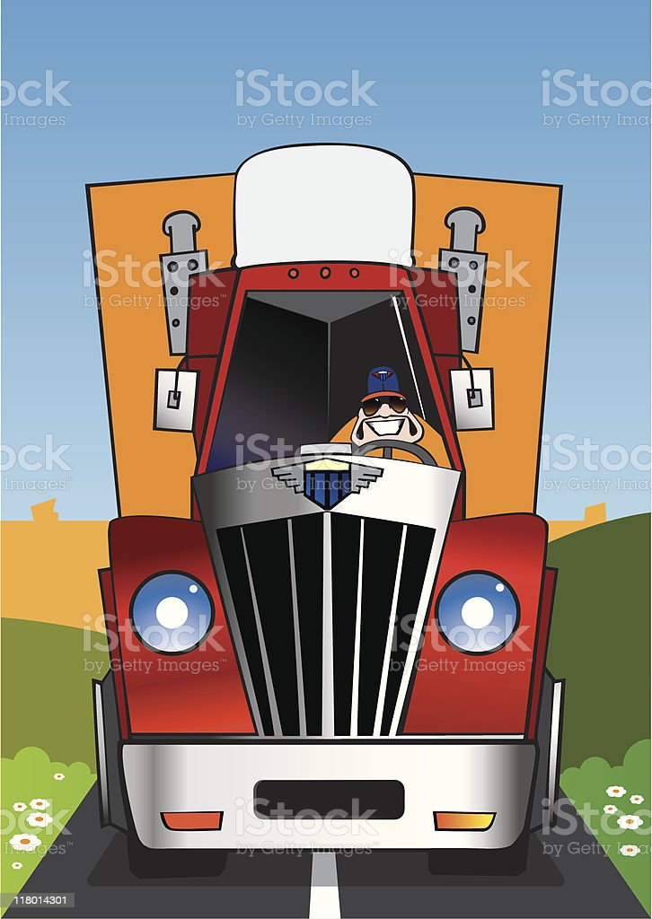 The cheerful truck vector art illustration