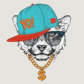 The Cheetah portrait in hip-hop hat. Vector illustration.
