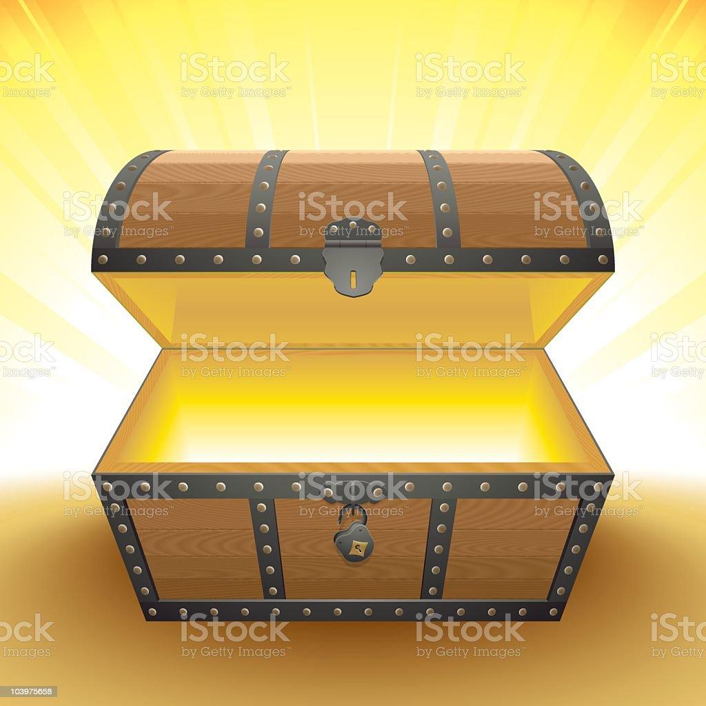 the chest of light vector art illustration